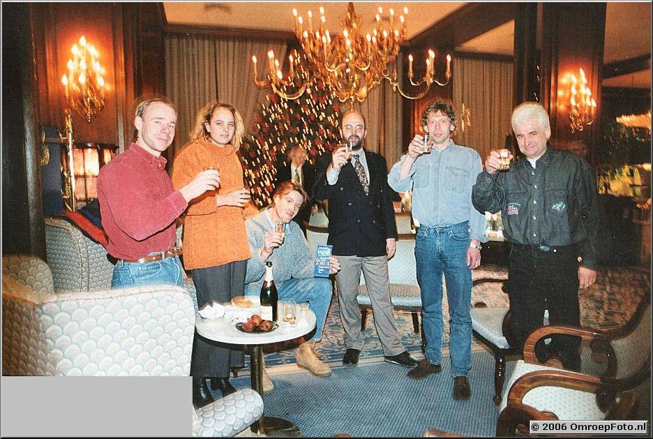 Foto 3-51. Happy New year in Wenen 1997 Olaf, Thijs, Hayo en Jan