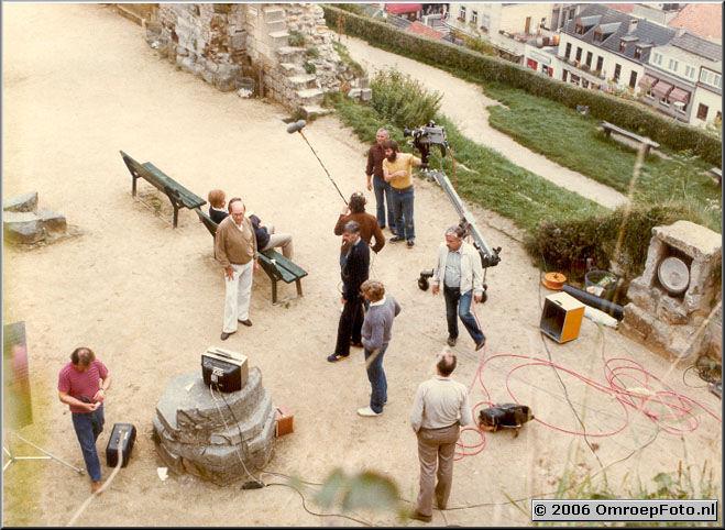 Foto 6-102. De Lemmings Valkenburg - 1980 bij de camera Henk Walison en Bart Doets, rechts Frans Murilof, linksonder Fons Sluitman