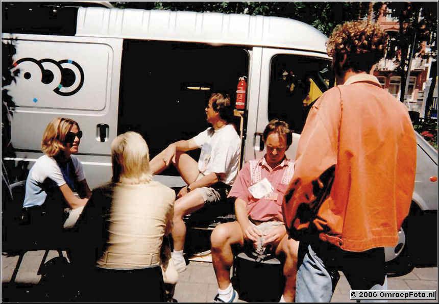 Foto 6-116. Marjolein,Rob, Henk en Danny bij EuroTop Amsterdam 1997