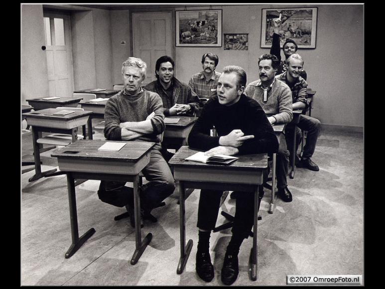Doos 107 Foto 2137. 'Klasgenoten' september 1986. VOO, Steve de Reus, Chris de Brij, Geofrey, Thomas Kist, Guus Wondergem en René Verhagen