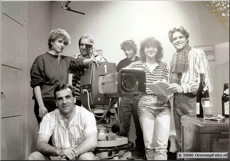Foto 15-292. A-blok 1988 Johan van Elk, Caroline Nutbey, Ynke Piersma, Jurriaan van der Kamp, Emiel Jansen en Victor Martinez